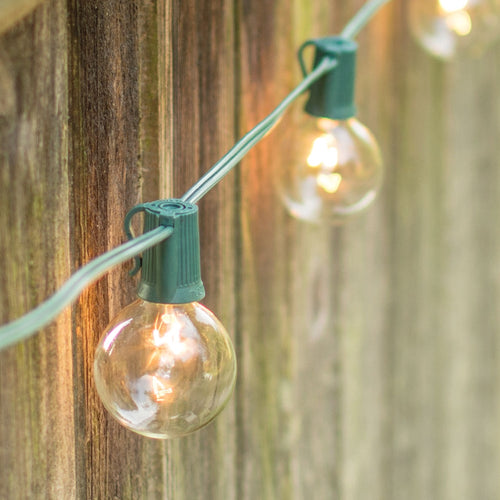 Globe String Lights, 2 Inch E17 Bulbs, 25 Foot Green Wire C9 Strand, Clear