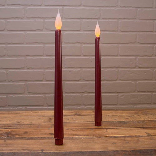 Taper Stick Candle, LED, Silicone Bulb, 11.5 in, Burgundy, 2 Pack