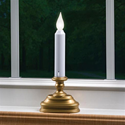 Electric Welcome Candle Lamp, 9 in. Tall, Round Brass Base, Plug-in