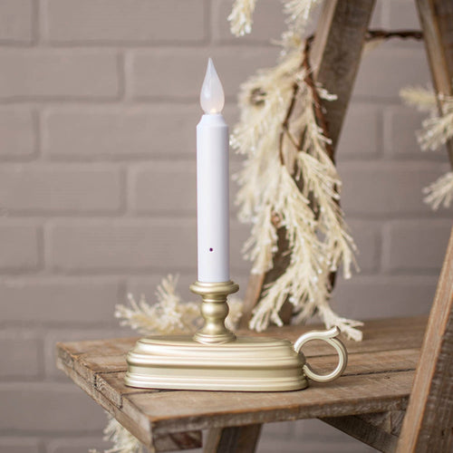 White LED Window Candle, Pewter Base, Battery Operated, Auto Sensor
