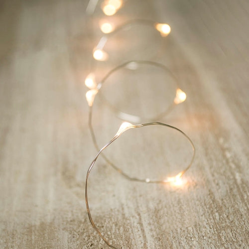 LED Fairy Lights, Timer, Silver Wire, 5 Foot, Warm White