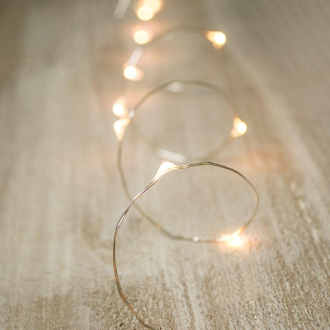 String Lights, 20 Rice Bulbs, Green Wire, Plug-in, Warm White