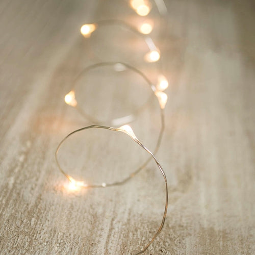 LED Fairy Lights, Timer, Silver Wire, 3 Feet, Warm White