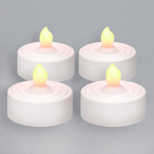 Tea Light w/ Flicker, Battery Operated,  4 Pack, Amber LED
