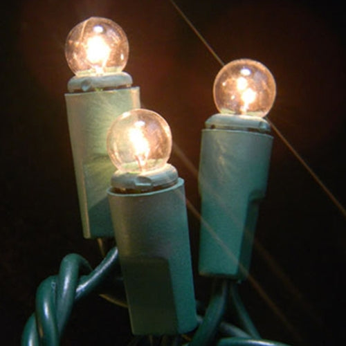 Mini Globe String Lights, 17.5 Foot Green Wire, Warm White