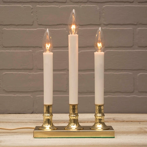 3 Tier Window Candle Brass Plated Base, Plug in, Auto Sensor, Amber Flame