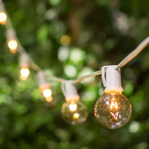 Globe String Lights, 2 Inch E17 Bulbs, 25 Foot White Wire C9 Strand, Clear