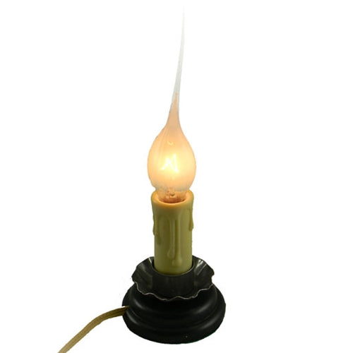 Rustic Country Candle Lamp, 5 in, On/Off Switch, Metal Trim, Plug-In