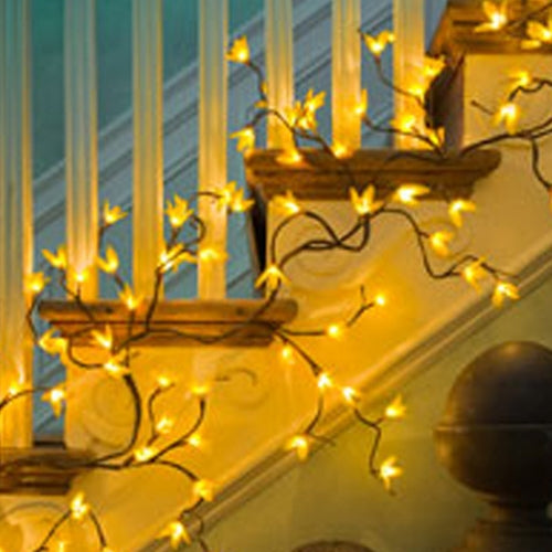 6 ft. Yellow Forsythia Lighted Garland, 96 Rice Lights, Plug-In