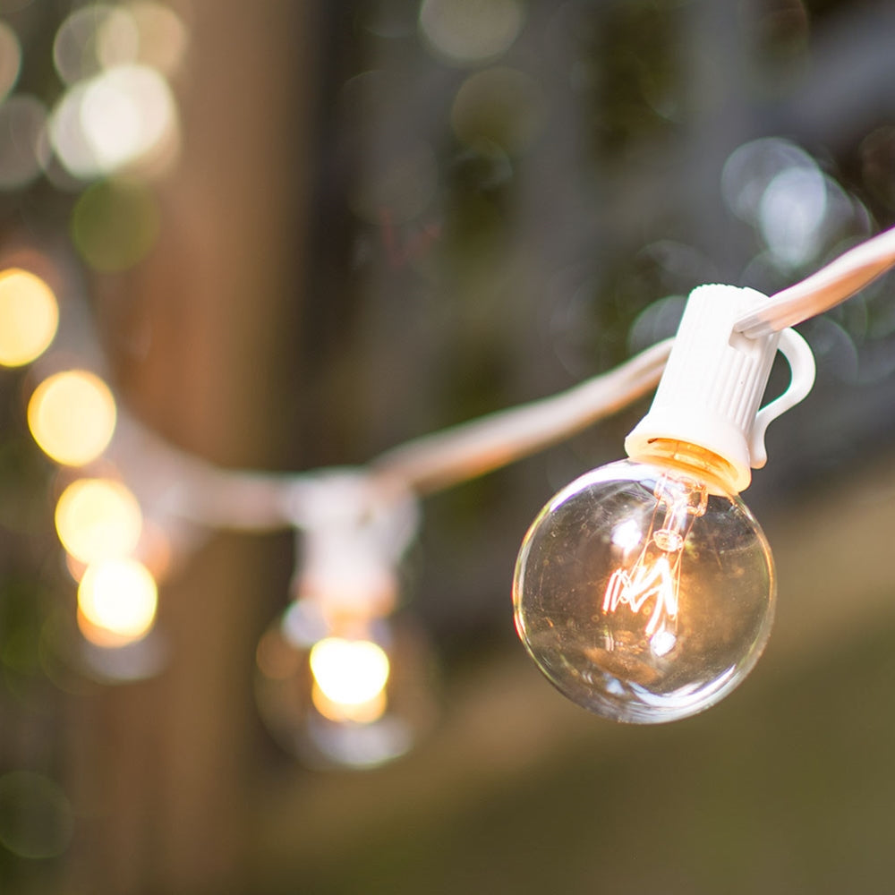 Buy Globe String Lights, 1 5 in  Bulbs, 50 ft  White Wire, Outdoor, Clear  at Lights For All Occasions for only $42 47