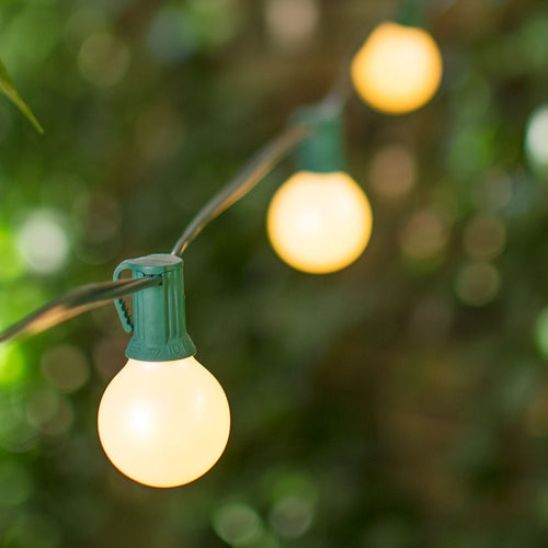 Globe String Lights, 1.5 Inch E12 Bulbs, 50 Foot Green Wire C7 Strand, Pearl