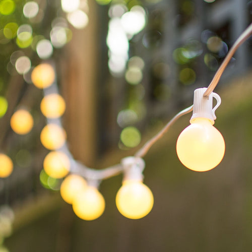 Globe String Lights, 1.5 Inch E12 Bulbs, 100 Foot White Wire, Pearl White