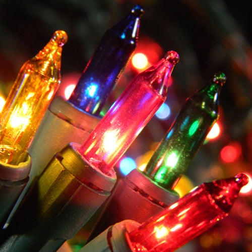 Multicolored String Lights on Green Wire, 35, Plug-In