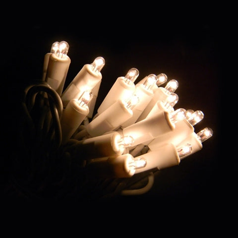 Christmas Village Light, C7 Clear Bulb, 6 ft White Wire, Warm White