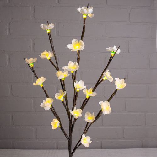Plum Flower Spray, Battery Op Stem, 20 LED Lights, 24 in, Warm White