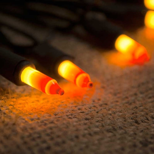 String Lights, Harvest, 16.5 ft., Black Wire, Plug-in, Outdoor, Orange
