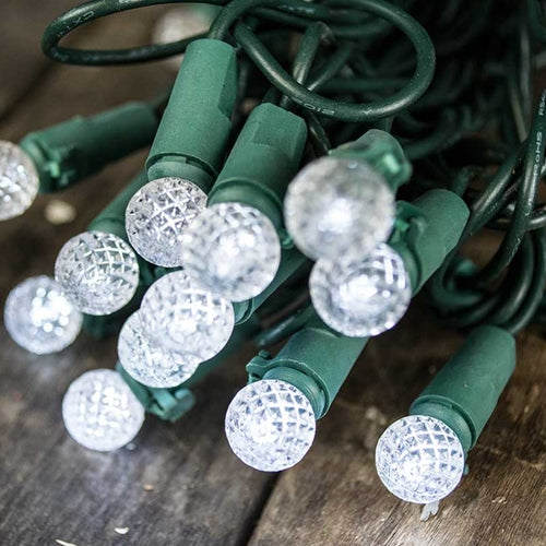 Raspberry LED String Lights, 35 Sphere Bulbs, Outdoor Plug-In, Cool White