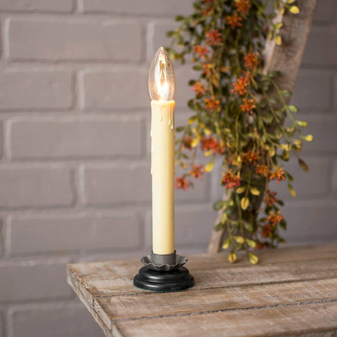 Antique Pewter Metal Base Candle Lamp, Silicone Tip Bulb, 6.5 in.