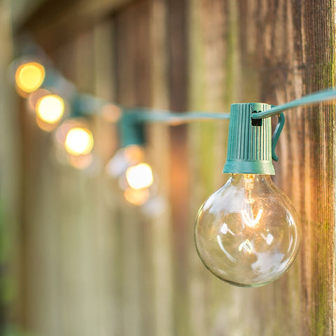 Globe String Lights, 2 in. Bulbs, 100 ft. Green Wire, Outdoor, Clear