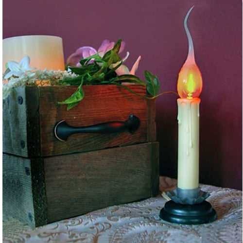 Country Candle Lamp With Silicone Bulb, 6 inch, Flicker, Plug-In