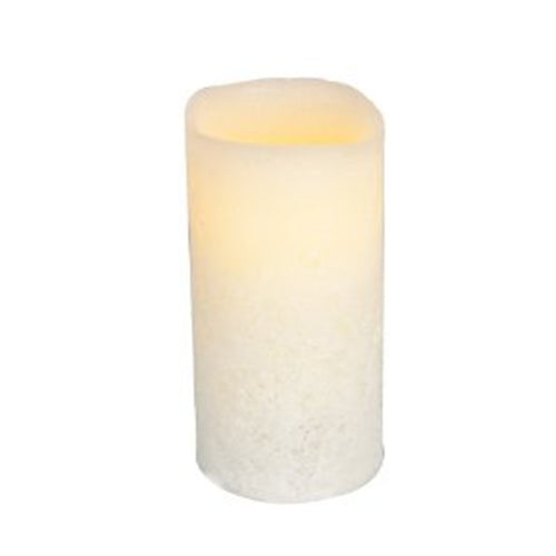 Flameless LED Pillar Candle, Timer, Outdoor, 3x6 in. with Wavy Edge