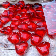 Vase Filler, Acrylic Heart Gems, 1 in. x 1 in., 100 pieces, Red