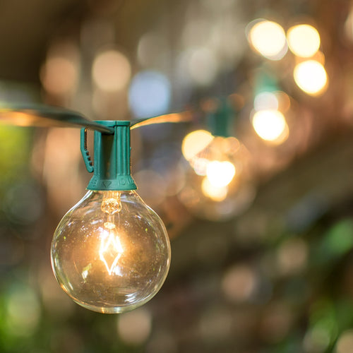 Globe String Lights, 2 Inch E12 Bulbs, 50 Foot Green Wire C7 Strand, Clear