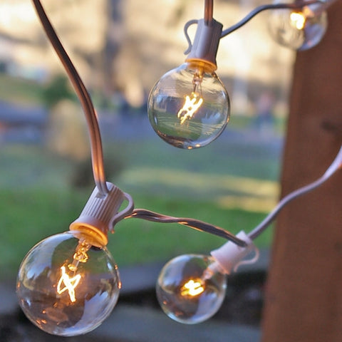 Globe String Lights, 2 Inch Bulbs, 25 Foot Brown Wire C7 Strand, Clear
