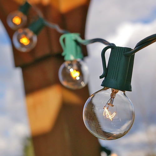 Globe String Lights, 1.5 Inch E17 Bulbs, 25 Foot Green Wire C9 Strand, Clear