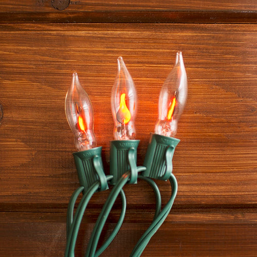 String Lights, 10ft, Outdoor, Green Wire C7 Strand, Flickering Flame