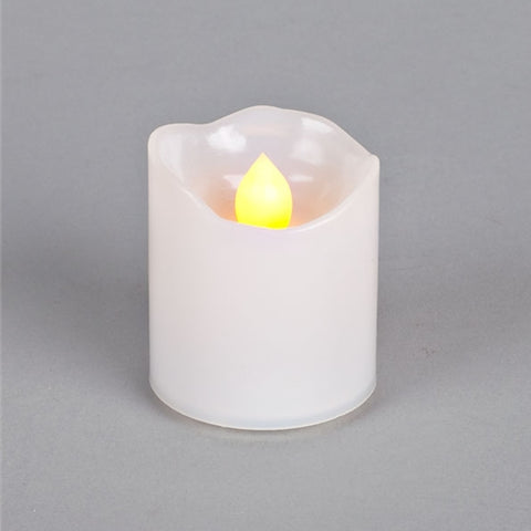 Taper Candle, Amber Flicker LED, Battery Operated, Timer, 9 inches, Ivory
