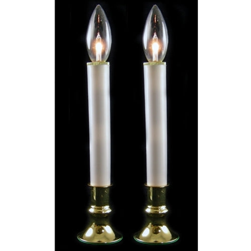 Candle Lamp with Brass plated Base, 9 inch, Battery Operated, 2-pack