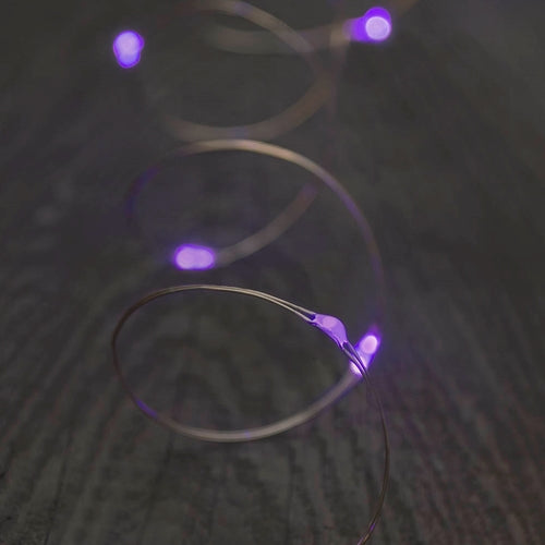 Fairy Moon Lights, LED, 4 foot, Silver Wire, Battery, Purple