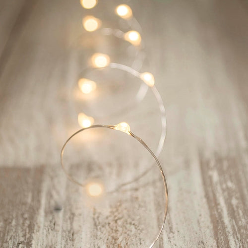 LED Fairy Lights, Silver Wire, 3 Foot, Warm White