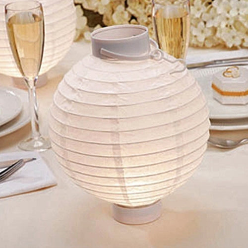 "White Wedding Paper LED Shanghai Lantern, 2-pack 8"" round, Battery Op."