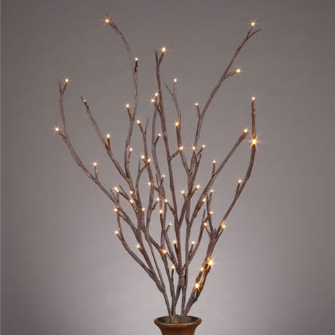 Lighted White Branches, Battery Op LEDs, Bendable, 39 inch, Warm White
