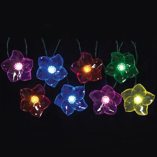 LED Flower String Lights, Multi-Color, Indoor-Outdoor, Battery, Timer