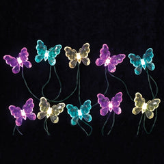 LED Butterfly String Lights, Color Changing, Outdoor, Battery, Timer