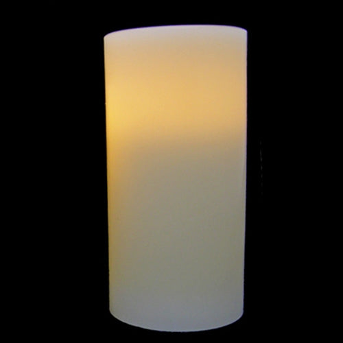 Pillar Candle, Flickering LED, 6 in., White, Battery Op, Timer Feature