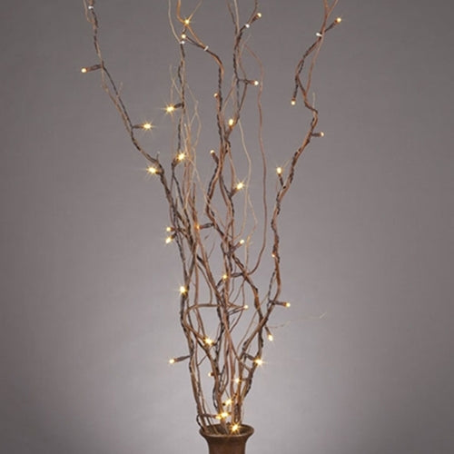 Natural Willow Branches with LED Lights, 10 Branches, 20 Inches, Battery Op.