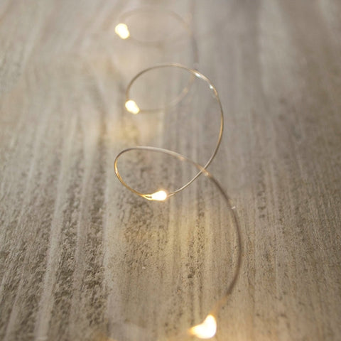 Fairy Lights, LED, 11 foot, Black Wire, Battery, Timer, Warm White