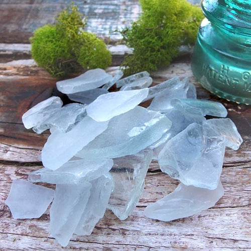 Frosted and Clear Sea Glass Vase Filler, 1 lb, Nautical Beach Table Scatter