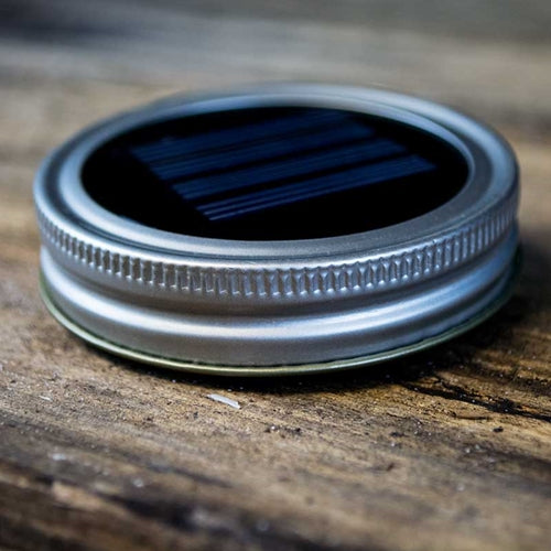 LED Lighted Mason Jar Lid, Standard Size, Solar Powered, SILVER
