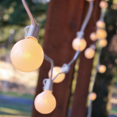 Globe String Lights, 1.5in. E12 Bulbs, 50ft White Wire C7 Strand, Pearl White