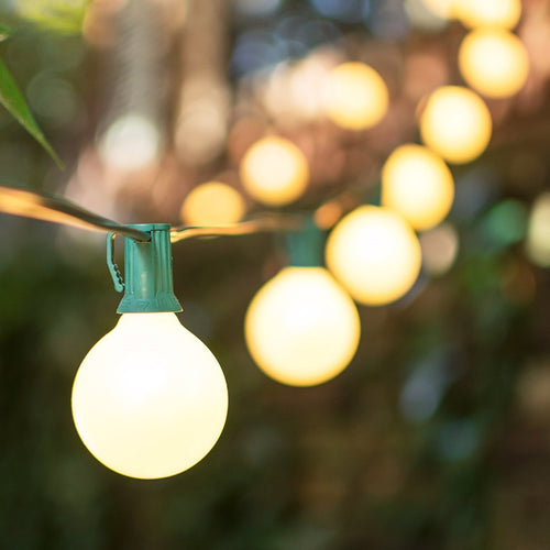 Globe String Lights, 2 Inch E12 Bulbs, 100 ft. Green Wire C7 Strand, PEARL WHITE