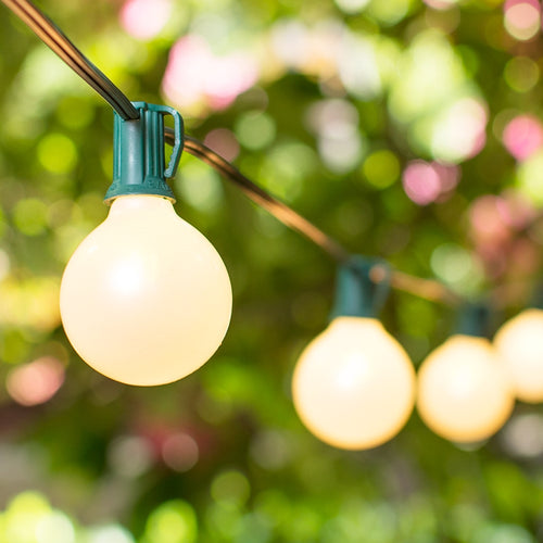 Globe String Lights, 2 Inch E12 Bulbs, 15 Foot Green Wire C7 Strand, Pearl White