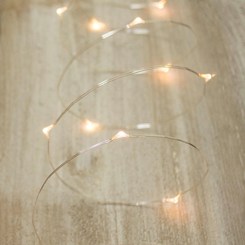 White LED Ribbon Fairy Lights, 6 Foot Warm White