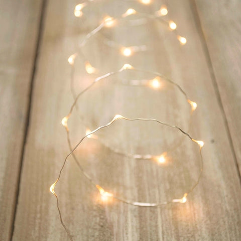 Fairy Lights, LED, 20 Feet, Silver Wire, Electric, Timer, Warm White