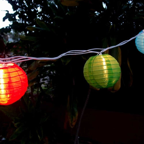 String Lights, 4-inch Round Nylon Lanterns, 6 feet, Multicolor