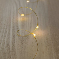 Bridal Fairy Lights, LED, 6 foot, Gold Wire, Battery, Warm White